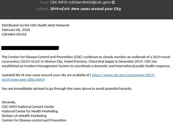 Coronavirus Phishing-E-Mail Link